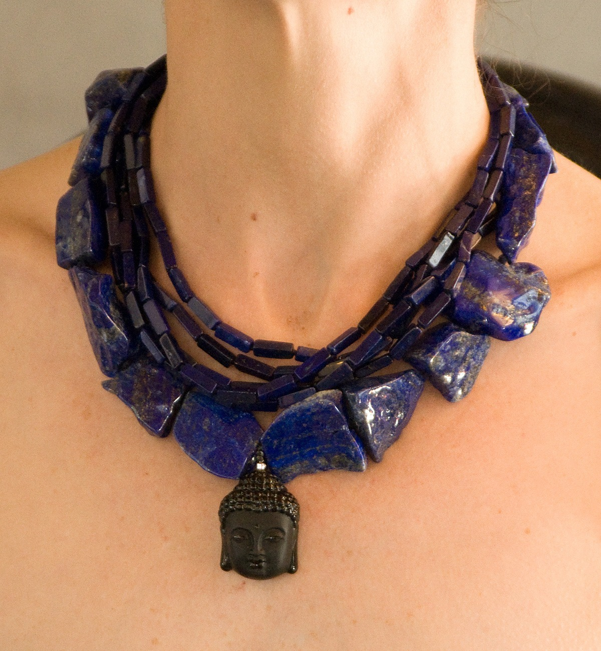 rough cut lapis lazuli necklace