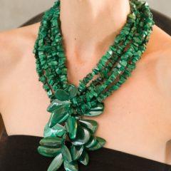 polished malachite necklace