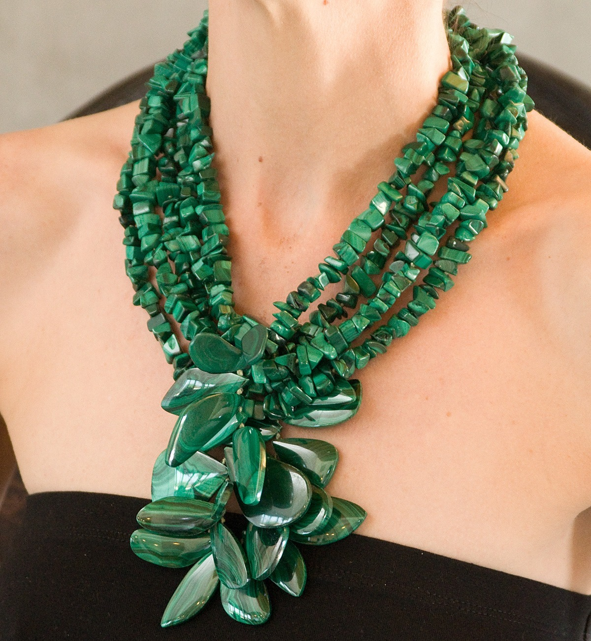 polished malachite necklace
