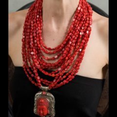 Polished red coral necklace