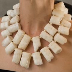 drusy agate ivory tooth necklace