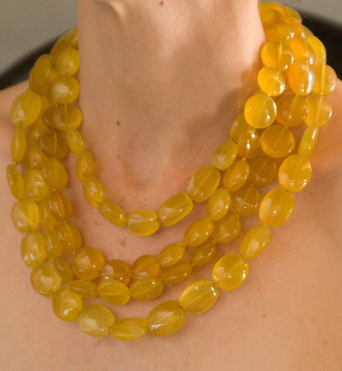 polished yellow chalcedony necklace